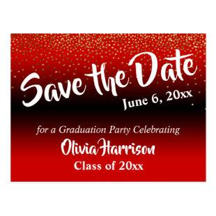 Gold Confetti Bright Red Graduation Save the Date Postcard