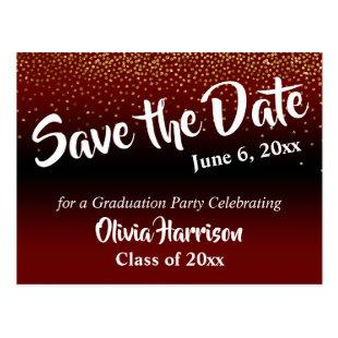 Gold Confetti Burgundy Graduation Save the Date Postcard