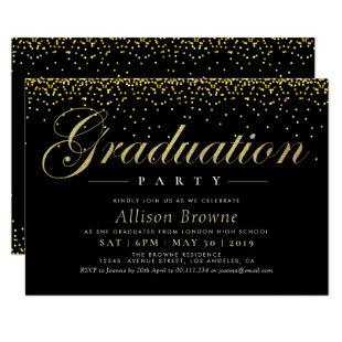 gold confetti graduation party invitation