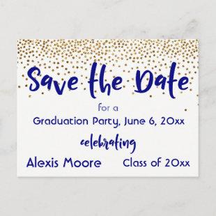Gold Confetti Navy Graduation Party Save the Date Announcement Postcard