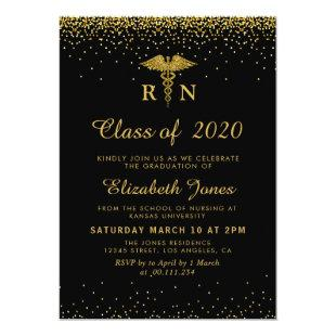 gold confetti nursing graduation party invitation