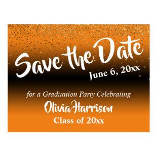 Gold Confetti Orange Graduation Save the Date Postcard