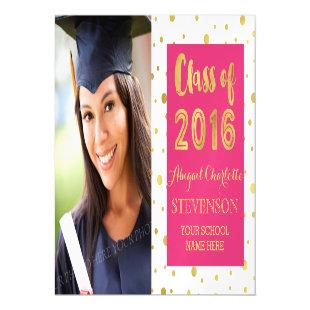 Gold Confetti Pink White Graduation Magnetic Card