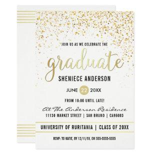 Gold Confetti & Script on White | Graduation Party Invitation