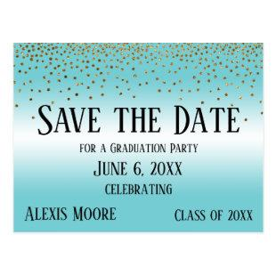 Gold Confetti Turquoise Graduation Save the Date Postcard