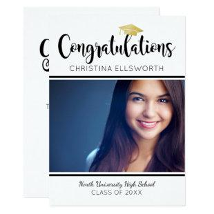 Gold Congratulations Graduation Party Photo Invitation