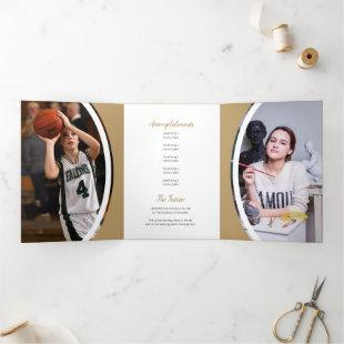 Gold Curved Frame Three Photo Graduation Tri-Fold Invitation