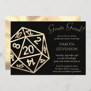 Gold D20 | Tabletop Role Player Virtual Graduation Invitation