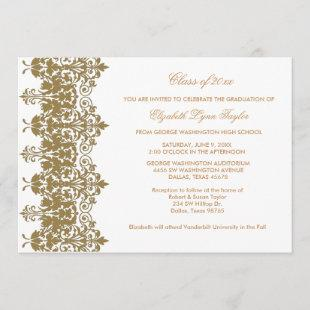 Gold Damask & White Graduation Announcement