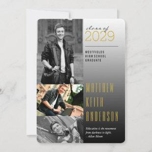 Gold Dark To Light Quote 3 Photo Modern Graduation Announcement