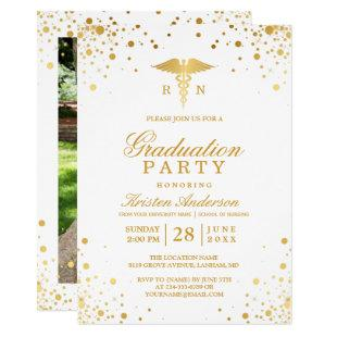Gold Dots Medical Nursing School Graduation Party Invitation