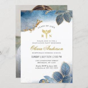 Gold Dusty Blue PHOTO Nursing School Graduation Invitation