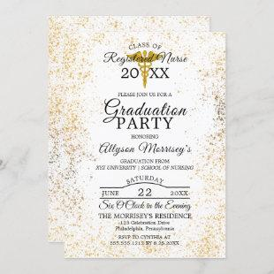 Gold Flecks Photo Nursing School | Med Graduation Invitation