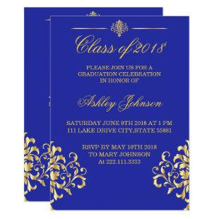 Gold foil and Royal Blue Graduation Invitation