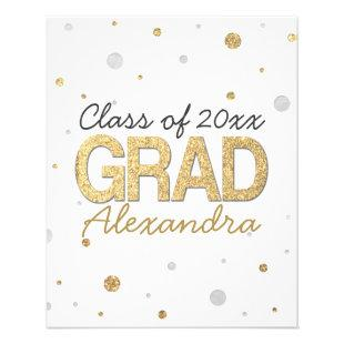 Gold Foil Glitter Confetti Graduation Party Custom Flyer