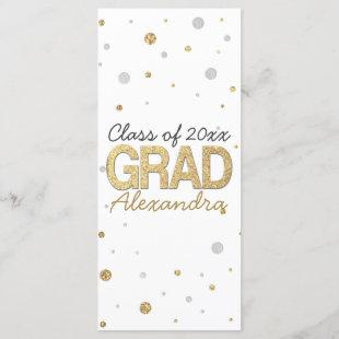 Gold Foil Glitter Confetti Graduation Party Custom Program