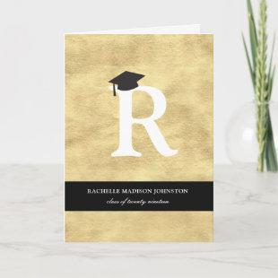 Gold Foil Monogram Alphabet Modern Photo Grad Invitation