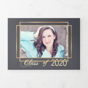 Gold Frame Gray  Background Graduation Photo Tri-Fold Holiday Card