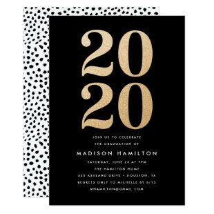 Gold Glitter Class of 2020 | Graduation Party Invitation