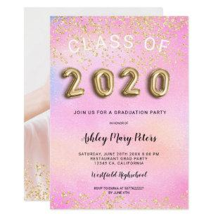 Gold glitter holographic photo graduation 2020 invitation