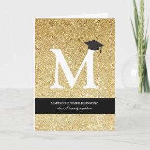 Gold Glitter Monogram Alphabet Modern Photo Grad Invitation