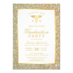 Gold Glitter Nursing School Graduation Party Invitation