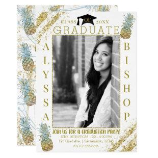 Gold Glitter Pineapples Photo Graduation Graduate Invitation