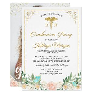 Gold Glitter Rose Garden Nursing Graduation Photo Invitation