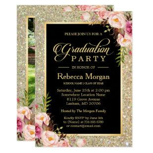 Gold Glitters Floral 2020 Photo Graduation Party Invitation