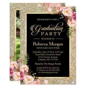 Gold Glitters Floral 2021 Photo Graduation Party Invitation
