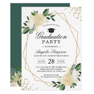 Gold Glitters Greenery Floral Graduation Party Invitation