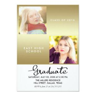 Gold Graduate Modern Two Photos Invitation