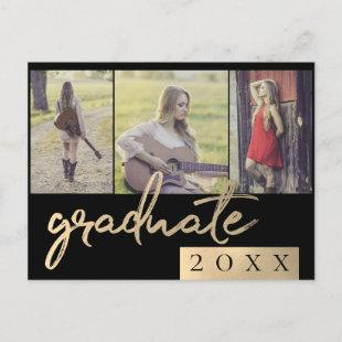 Gold Graduate | Sophisticated Script 3 Photo Invitation Postcard