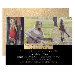Gold Graduation | Elegant Grad 3 Photo Party Invitation
