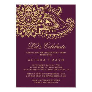 Gold Indian Paisley Let's Celebrate Invitation
