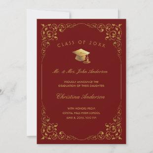 Gold Ivy Script From Parents Red Graduation Announcement