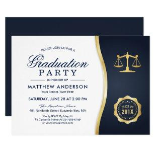 Gold Justice Wreath Law School Graduation Party Invitation