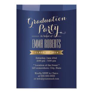 Gold Label Navy Blue Graduation Party Invitations