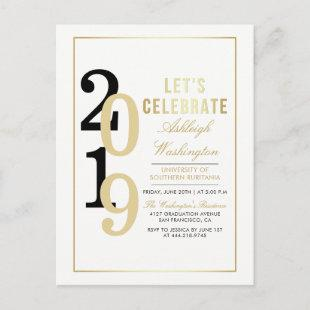 Gold Let's Celebrate | White Graduation Party Invitation Postcard