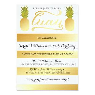 Gold Luau Party Invitation for Birthday, Shower