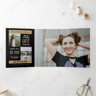Gold Modern Block 5-Photo Graduation Tri-Fold Invitation