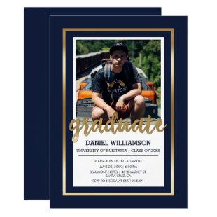 Gold & Navy Blue Typography | Photo Graduation Invitation