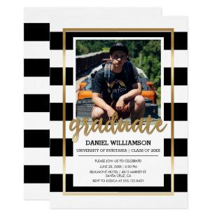 Gold on Black & White Stripes | Photo Graduation Invitation