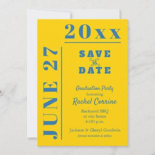 Gold on Blue Graduation Party Save the Date