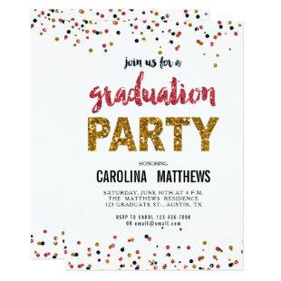 Gold Pink Confetti Graduation Party Invitation