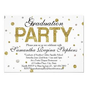 Gold Sparkle Confetti Graduation Party Invitation