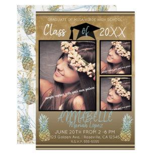 Gold Sparkle Pineapples Graduation Party Photo Invitation