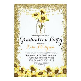 Gold Sunflower Graduation Party Invite