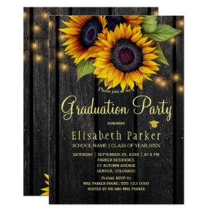 Gold sunflowers rustic barn wood graduation party invitation