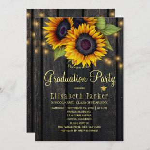 Gold sunflowers rustic barn wood graduation party